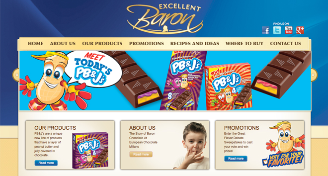 baron chocolate website design 1