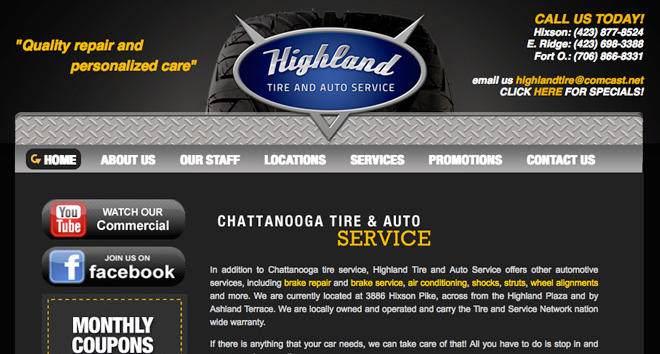 chattanooga web design highlandtire1